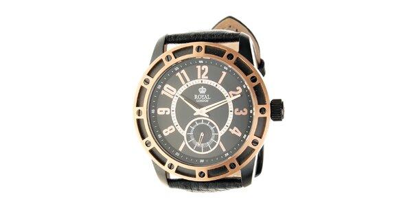 Zlato-černé hodinky Royal London s černým koženým řemínkem