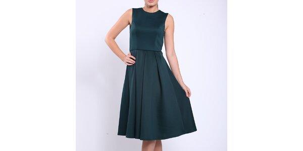 Dámské lahvově zelené šaty s průstřihem Melli London