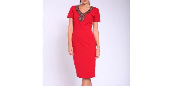 Dámské rudé pouzdrové šaty Melli London