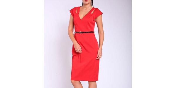 Dámské rudé pouzdrové šaty s páskem Melli London