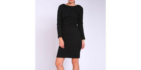 Dámské černé upnuté šaty s průstřihy na zádech Melli London