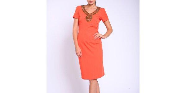 Dámské oranžové pouzdrové šaty Melli London