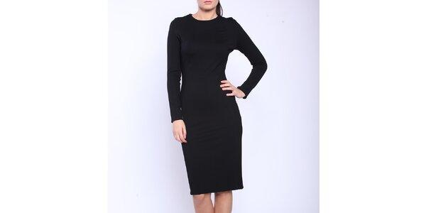 Dámské černé šaty s dlouhými rukávy a bílými boky Melli London