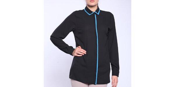 Dámská černá košile s modrým lemováním Melli London