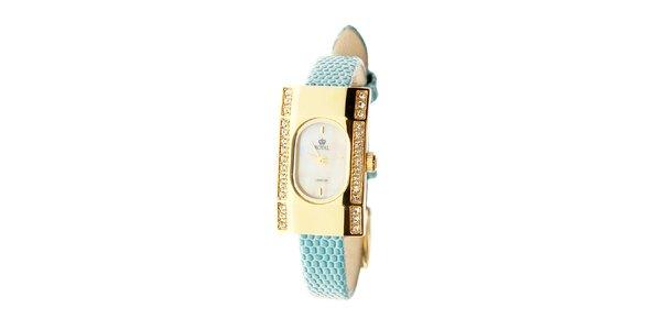 Dámské zlaté hodinky Royal London s tyrkysovým řemínkem a krystaly