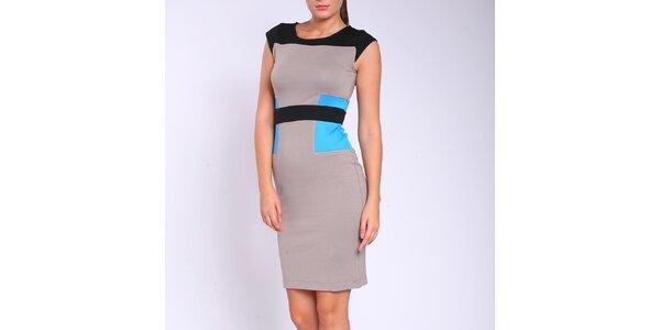 Dámské šedo-modro-černé šaty Melli London