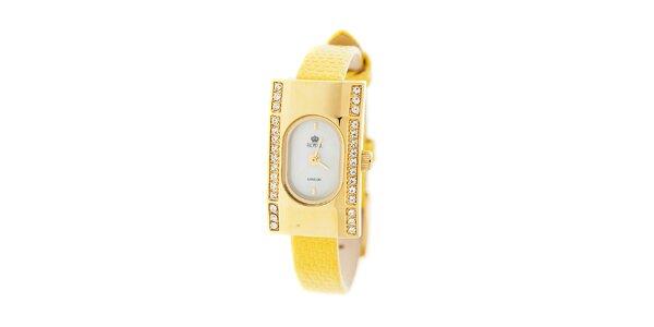Dámské zlaté hodinky Royal London se žlutým řemínkem a krystaly