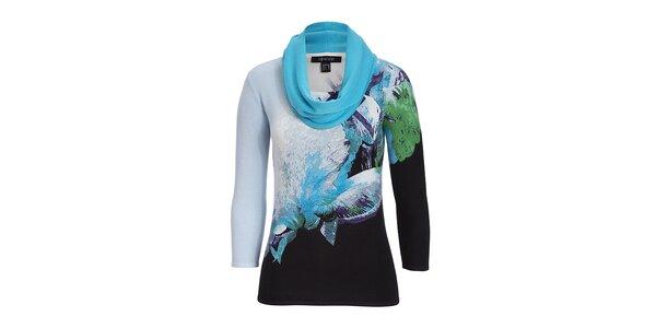 Dámský modře vzorovaný svetřík s šátkem Imagini