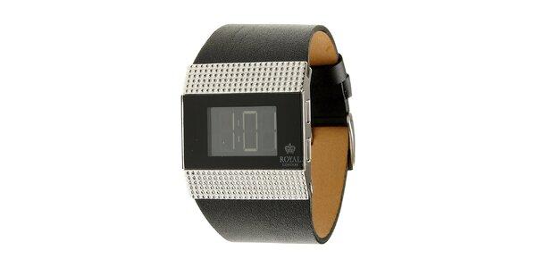 Dámské černé ocelové digitální hodinky Royal London