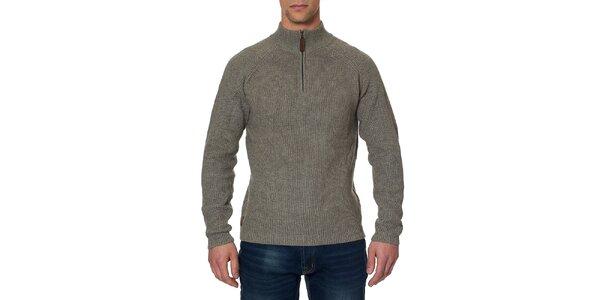 Pánský šedozelený svetr se stojáčkem na zip Paul Stragas