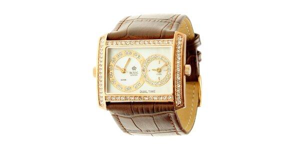 Dámské zlaté ocelové hodinky Royal London s kamínky
