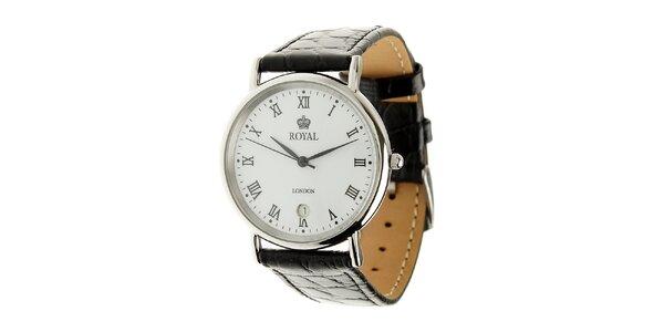 Ocelové hodinky Royal London s černým koženým řemínkem