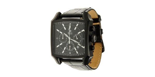 Černé ocelové hodinky Royal London s koženým řemínkem