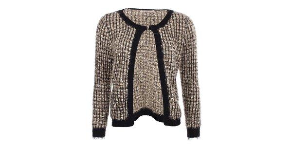 Dámský zlatý svetr s černým lemováním Beauty Women
