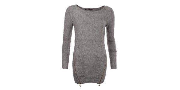 Dámský hnědý svetr se zipy JOYX
