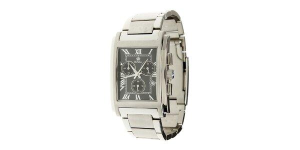 Pánské ocelové hodinky Royal London s hranatým černým ciferníkem