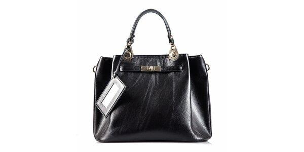Dámská černá kožená kabelka se zámečkem Belle & Bloom