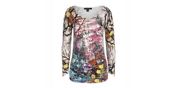 Dámský barevný svetřík s potiskem stromů a listů Imagini