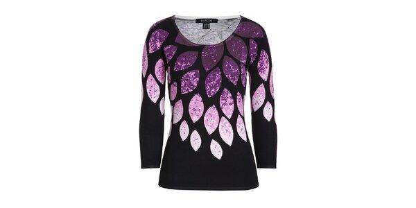 Dámský černý svetr s fuchsiovým vzorem Imagini