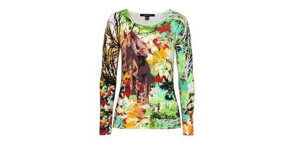 Dámský barevný svetr s motivem koně Imagini