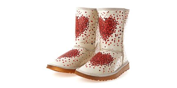 Dámské krémové boty s potiskem srdíček Elite Goby