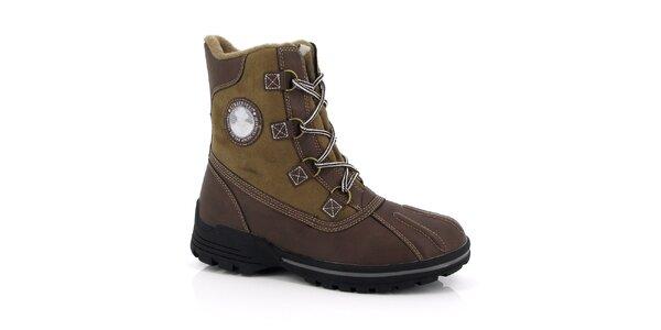 Pánské hnědé kotníkové boty s nášivkou Kimberfeel