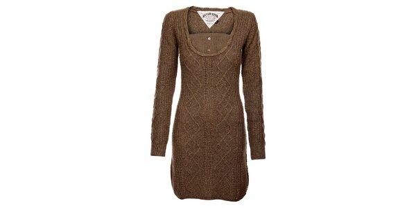 Dámské hnědošedé svetrové šaty Tommy Hilfiger