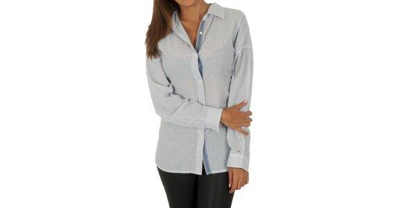 Dámská bílá košile s šedivými proužky Tommy Hilfiger