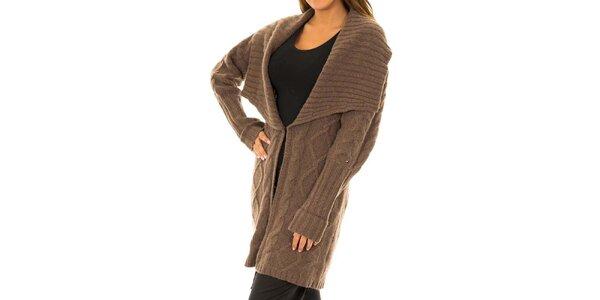 Dámský pletený hnědý kabátek Tommy Hilfiger