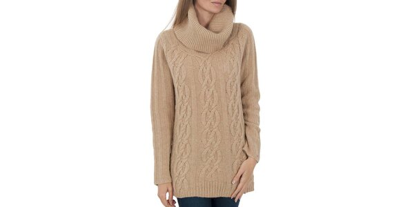 Dámský béžový svetr se vzorem Tommy Hilfiger