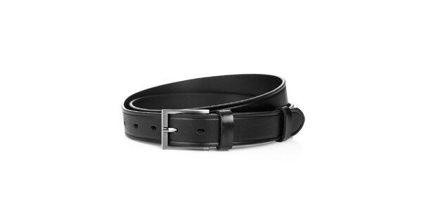 Pánský kožený pásek v černé barvě Solier