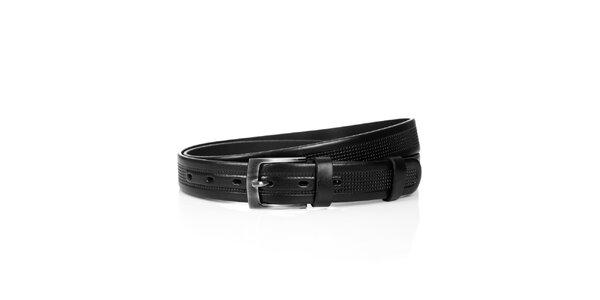 Pánský kožený pásek Solier - černý