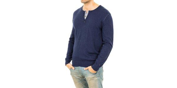 Pánský modrý svetr se záplatami na loktech Tommy Hilfiger