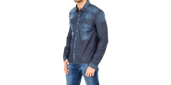 91e5d5d33fc Pánská tmavě modrá džínová košile Tommy Hilfiger
