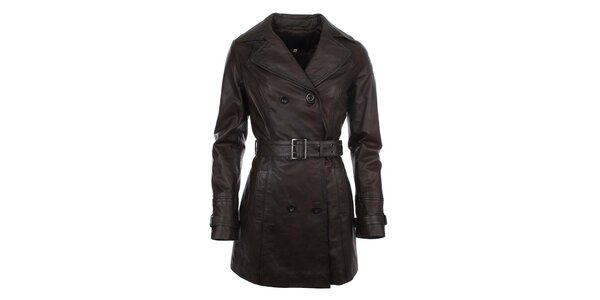 Dámský hnědý dvouřadý kabát s páskem ECI