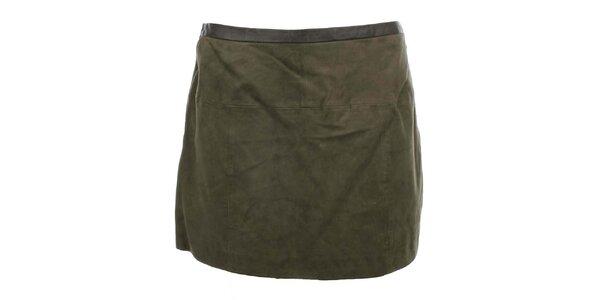 Dámská semišová sukně v khaki odstínu MOCUISHLE