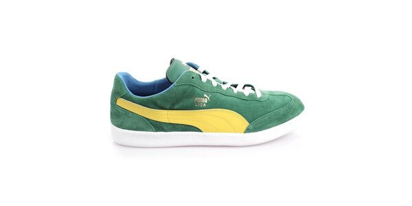 Pánské semišové zelené tenisky se žlutými prvky Puma