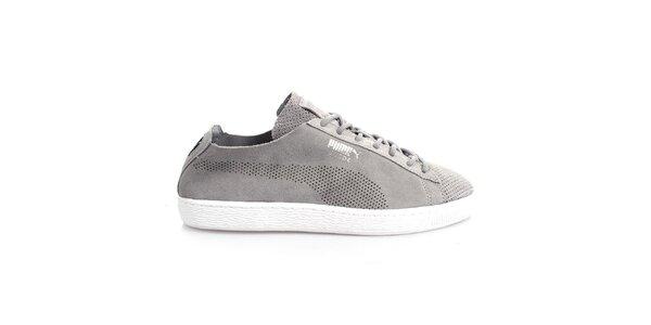 Pánské šedé perforované boty Puma
