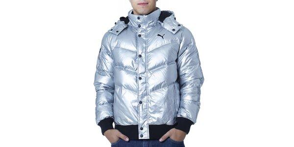 Pánská stříbrná prošívaná bunda s černými prvky Puma