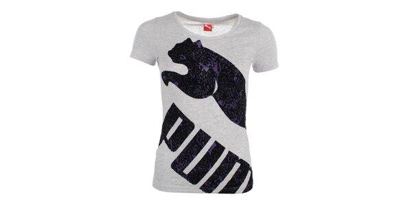 Dámské světle šedé melírované tričko s potiskem Puma