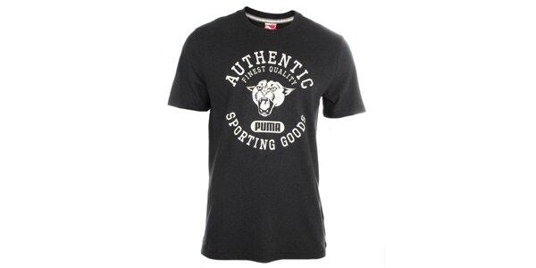Pánské tmavě šedé tričko s bílým potiskem Puma