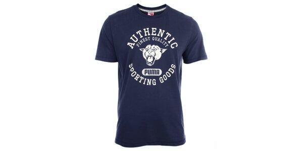 Pánské tmavomodré tričko s bílým potiskem Puma