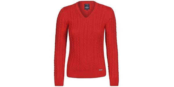 Dámský červený svetr s copánky Giorgio di Mare