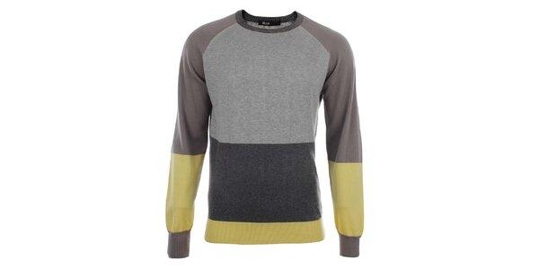 Pánský šedý svetr se žlutými prvky Big Star