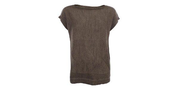 Dámský hnědý svetr s krátkými rukávy Big Star