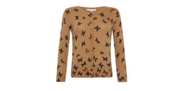 Dámský béžový svetřík s barevnými motýlky a knoflíky Uttam Boutique