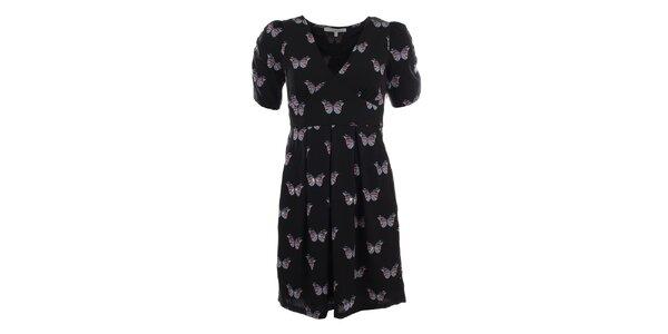 Dámské černé šaty s motýlky Uttam Boutique