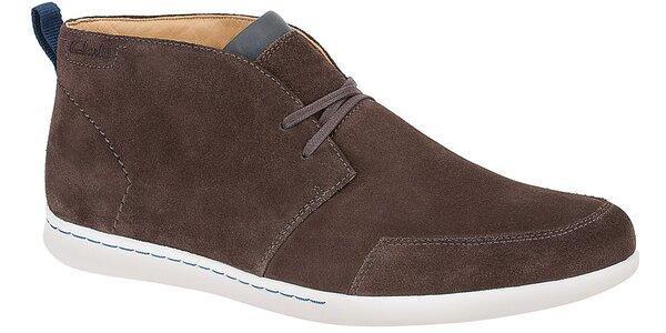 Pánské tmavě hnědé semišové kotníčkové boty Clarks