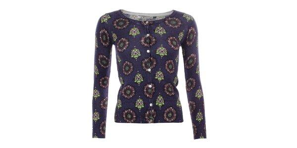 Dámský tmavomodrý svetřík s barevným vzorem Uttam Boutique