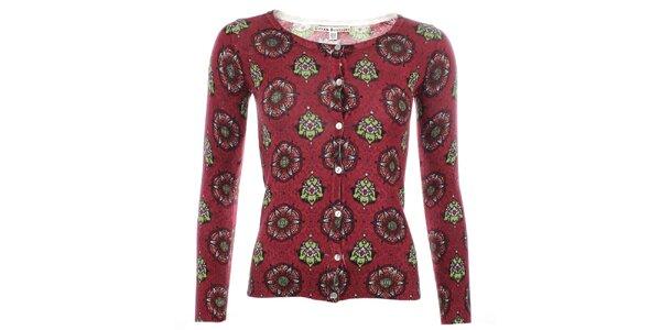 Dámský červený svetřík s barevným vzorem Uttam Boutique